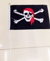 Wholesale 75D polyester cloth Halloween pirate flag x21cm hand flag pennant string flags party decorate