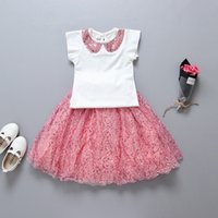 Wholesale Doll Clothes Skirt - kids clothing Sets Summer Sequin Doll Collar Tops+Bling Skirt 2pcs Suits Korean girls sequins sets Children Outfits C632