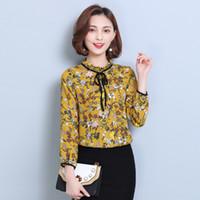 Wholesale New Korean Women Fashion Blouse - 2017 New Korean Spring Women Clothing Butterfly Floral Blouse Long Sleeve Printed Chiffon Shirt Bubble Sleeve Blouses
