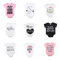 Wholesale INS Kids Romper Baby Jumsuit Hot Infant Newborn Sleepsuit Baby Clothes Cotton Long Sleeve Letter Printed Bodysuits Kids Clothing X15