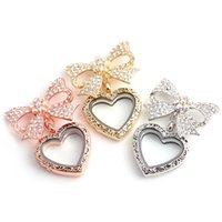 Hot Selling Papillon Bow Crystal Heart Glyph flottant pendentifs Pendants 3colors Haute Quanlity DIY charme locket Pour Colliers BIJOUX