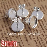 Wholesale Cameos Bulk - bulk 1000X silver plated 8mm cameo cabochon setting blank earring post with pad and backs butterfly stoppers for stud findings
