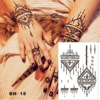 Wholesale Triangle Tattoo - Designed Triangle Simple Black Henna Temporary Tattoo for Both Hands Inspired Body Sticker Wholesale Free Shipping