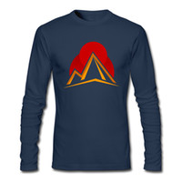 Wholesale Blue Abstract Designs - New notion simple design top for men o-collar mens long sleeve tees pure cotton soft wear formal shirts abstract mountain sunset