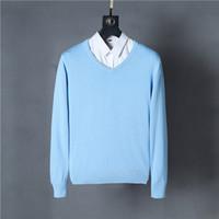 örme kazaklar toptan satış-Marka Yeni erkek V Yaka Kazak% 100% pamuk 12 renkler 1 adet / grup Artı boyutu S-XXL erkekler knited kazak drop shipping