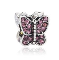 S'adapte à Pandora Bracelets 10pcs Purple Crystal Butterfly Silver Charm Beads Charms pour la vente en gros Diy European Necklace Snake Chain Bracelet