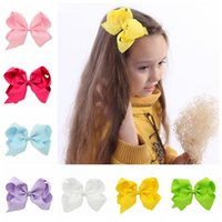 Wholesale Ribbon Hairclips - 588 Wholesale 15pcs lot Girls 6 inch Ribbon Bows with Clip Grosgrain Lovely Hairclips Girls Hair Accessories