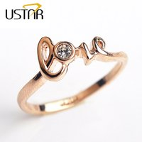 Wholesale Gold Love Words Ring - Love Word CZ diamond wedding Rings for women Rose Gold Plated Rings Female Anel Crystals Engagement rings Aneis Christmas gift