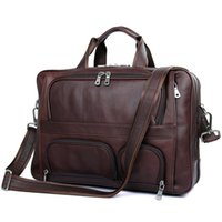 Wholesale Men Large Tote Leather - Mens Genuine Leather Large Size Tote Bag Messenger Bag Briefcase 17 inch Laptop Bag European and American Style Brownish Red Color 7289