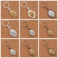 Wholesale Wholesale Crosses Metals - Keychains Catholic Patron Saint Michael St. Michael the Archangel 2 inch Medal 12pcs lot Key Ring K1746 12colors