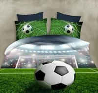 conjuntos de cama fábrica venda por atacado-Fábrica Novo 3D Soccer Bedding Set Futebol Design Impresso Capa de Edredão Set Incluem Colcha Roupa de Cama Fronha Frete Grátis Queen Size
