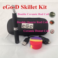 Wholesale Ego Wax Skillet Battery Kit - EGO Kit Dry Herb skillet Atomizer Ego-D Kit with 650mah ego t battery Grill wax atomizer E Solid Vaporizer EGO Carrying Zipper Case