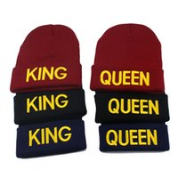 Wholesale King Beanies Black - KING QUEEN hat High Quality Beanie Ski Cap Gold letter Tour Skull Stretch Caps Soft Cuff Beanie Knitted Hiphop Warm winter hats