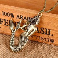 Wholesale Childrens Necklace Chain - 2017 2 colors Mermaid Pattern Long Chain Girl Charm Necklace Jewelry girls jewelry childrens jewelry good quality