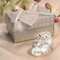 (100pcs / lot) K9 Crystal Baby Bootie Keepsakes Crystal Paperweight Wedding Crystal Shoe Figurine Baby Shower FavorsSouvenir + FREE SHIPPING