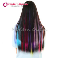 Wholesale Clip One Extensions - One Piece Hair Clip In Extensions Mixed Colors 50Cm Long Straight Synthetic Hairpieces Clip On hair clip in human hair extensions