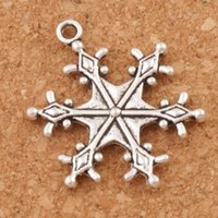 Wholesale Snowflakes Beads - Big Dots Snowflake Charm Beads 22x28.7mm Tibetan Silver Pendants Fashion Jewelry DIY Fit Bracelets Necklace Earrings L737