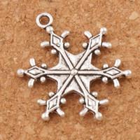 ingrosso collana in perle di tibet-Big Dots Snowflake Charm Beads 22x28.7mm Argento Tibetano Pendenti Gioielli di Moda FAI DA TE Fit Bracciali Collana Orecchini L737