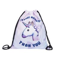 Wholesale Drawstring Backpack Animals - Pink unicorn small Backpack women 3D printing travel softback men mochila drawstring bag School girls backpacks sac a dos