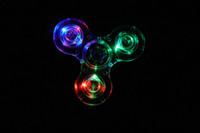Wholesale Acrylic Crystals Blue - Acrylic ABS LED Luminous Glitter Jelly Clear Fidget Spinner Crystal Hand Spinner Light up Tri Fidget spinners