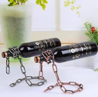 Wholesale Wine Racks Holders - Creative Chain Ring Wine Rack Magical Suspended Free Stand Chain Wine Holder Rack Stand Floating Wine Holder KKA1923