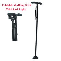 Wholesale carbon hiking stick - Wholesale- 4 Sections Foldable Adjustable T Handle Cane With LED Lights Non Slip Sillion Base Black Hiking Walking Stick