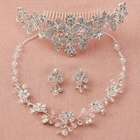 Wholesale Butterfly Acrylic Alloy Rhinestone Necklace - Elegant Necklace Earrings Set Bridal Butterfly Crown Tiaras Bridal Jewelry Accessories Twinkling Wedding Party Sets S008 Free Shipping