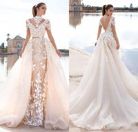 Wholesale Wedding Dress Detachable Halter Strap - Vintage Halter Champange Wedding Dresses 2017 Lace Appliques Short Sleeves Backless with Detachable Train Floor-Length Royal Bridal Gowns