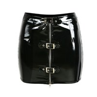 Wholesale Pencil Skirt Looks - Vocole Sexy Girl Wet Look PVC Mini Skirt Latex Faux Leather Clubwear Vinyl Buckles Zipper Up Front Slim Pencil Skirt Size S-XXL
