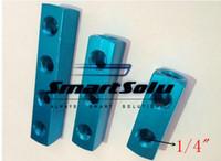 "Wholesale Pneumatic Quick Fittings - 1 4"" 2 hole BSP Pneumatic Aluminum Air Fitting Multi Connector Manifold Hose Quick Coupler Plug hole Socket"