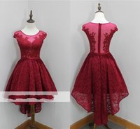 Wholesale knee length dresses for sale resale online - Vintage Full Lace Crystal Hi Lo Designer Homecoming Dresses Pink Sheer Jewel Neck Girls Homecoming Gowns For Sale