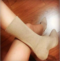 Sexy Runway Stretchy Sock Boots Pointy Toe Stiletto Heel Dress Короткие высокие сапоги Kylie Jenner Обувь Женщина Crotch Booties Elastic Lady Shoes