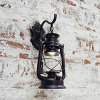 eski duvar lambası toptan satış-Retro Duvar Lambası Avrupa Vintage Stil Kahverengi Lambalar Bar Kahve Dükkanı Koridor Ev Taşınabilir Fener Ampul Açık Dış Aydınlatma Lambası LED