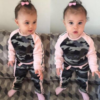 Wholesale Camouflage Girl Clothing - Toddler Baby Clothing Sets 2PCs Suits Baby Girls Camouflage T-shirt Tops Pants 2PCS Outfits Clothing Set Sport Suit Children Tracksuit 0671