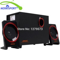 Wholesale Desktop Computer Home Pc - Wholesale- MERRISOIRT 2.1 Computer Speakers System with Powered Subwoofer for Desktops Laptops PC Tablets MP3 4 Players Home Theaters Black