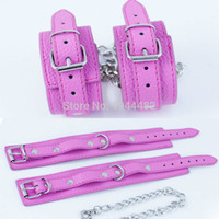Wholesale Pink Hand Cuffs - Pink Hand Cuffs PU Leather Wrist Cuffs Fetish Bondage Restraints Handcuffs For Sex Toys For Couples Adult Games Sex Products