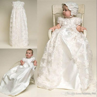 Wholesale Images Shirts For Boys - Custom Made Christening Dresses Lovely High Quality Taffeta 2017 Gown Lace Jacket Christening Dresses with Bonnet for Baby Girls and Boys