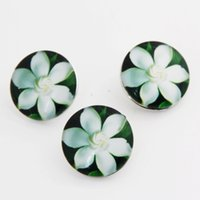 Wholesale Sports Jewerly - 10 Styles Flowers 18mm Glass Snap Button Charms Fit For DIY Ginger Snap Jewerly