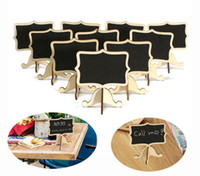 Wholesale Wooden Stand Christmas Decorations - 10Pcs Pack Mini Lace Blackboard Chalkboard Wooden Blackboard Price Stand For New Year Party Christmas Wedding Decoration