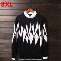 Wholesale Code Sweaters - Wholesale- Large size fat people super large code knit tide male 8XL long sleeved cotton nutty winter sweater 9XL 10XL