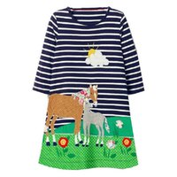 Wholesale baby clothing line online - Baby Girls Unicorn Party Dress Long Sleeve Princess Dress Brand Cotton Children Dress Casual Kids Clothes
