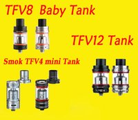 Wholesale Mini 6ml - Smok TFV8 6ml Atomizer Smok TFV8 Full Kit& TFV4 mini tank VS smok TFV12 tank free shipping
