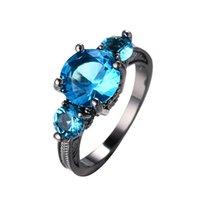 anéis azuis do aqua venda por atacado-Tamanho 6/7/8/9/10 Anéis Dedo Mulheres Moda Jóias aqua azul anillos de las mujeres 10KT Preto Anel Cheio De Ouro RB0058