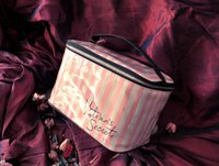 Wholesale Waterproof Toiletry Kits - landy house High quality women for victoria's waterproof cosmetic bag female Pink and white striped bag lady fashion makeup bag
