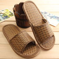 Wholesale Canvas Floor Mats - Wholesale- Woman Rattan Mat Bottom Cool Shoes Men Women Shoes Comfort Natural Bamboo Summer Style Flax Lover Slippers Home Indoor Antiskid