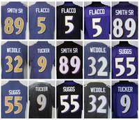 Wholesale Elite Stitch Football Jerseys - 2017 Rush Legend Purple Elite 5 Joe Flacco 55 Terrell Suggs 32 Eric Weddle 9 Justin Tucker 89 Steve Smith Sr Mens Stitched Football Jerseys