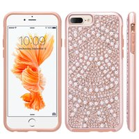 Wholesale Pearl Iphone Case Cover - Luxury Rhinestone Case for iPhone 8 7 Plus Hard Phone Back Lace Brilliance Diamond Genuine Pearl Hybrid Cover for iPhone7 iPhone8 7Plus