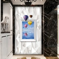 Wholesale Custom Printing Balloons - Free Shipping 3D Stereo Custom Porch Corridor Aisle Door Cabinet Background Wallpaper Marine Balloon Photo Fashion Mural Wallpaper