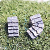 ingrosso miniature buildings-10 pz / lotto artificiale mini passi edifici fairy garden miniature gnome moss terrario decor mestieri della resina bonsai home decor per fai da te zakka
