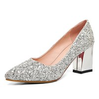 Wholesale European American Heels Shoes - European and American fashion sexy high heel thick and shiny bright slice of the classic pointed female shoes comfortable marriage shoes